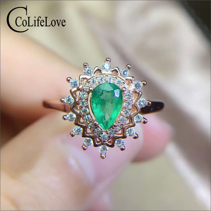 "CoLife תכשיטי 100% אמיתי אמרלד טבעת אירוסין 4*6 מ""מ טבעי אמרלד כסף טבעת 925 כסף תכשיטי אמרלד"