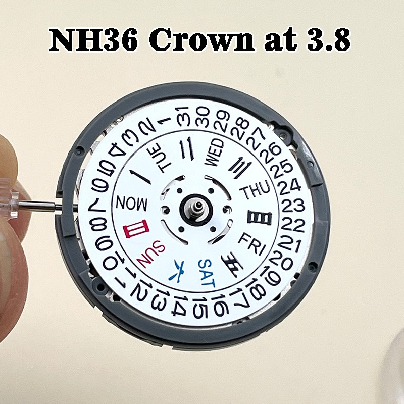 NH36/NH36A White Black Automatic Movement Crown at 3.8 Self-winding Mechanical Date/Day Setting 24 J