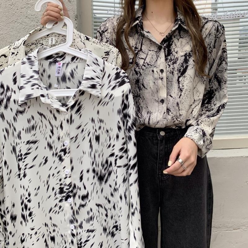 Summer New Retro Tie-Dyed Printed Chiffon Shirt Women's Top Loose Design Niche Hong Kong Style Long