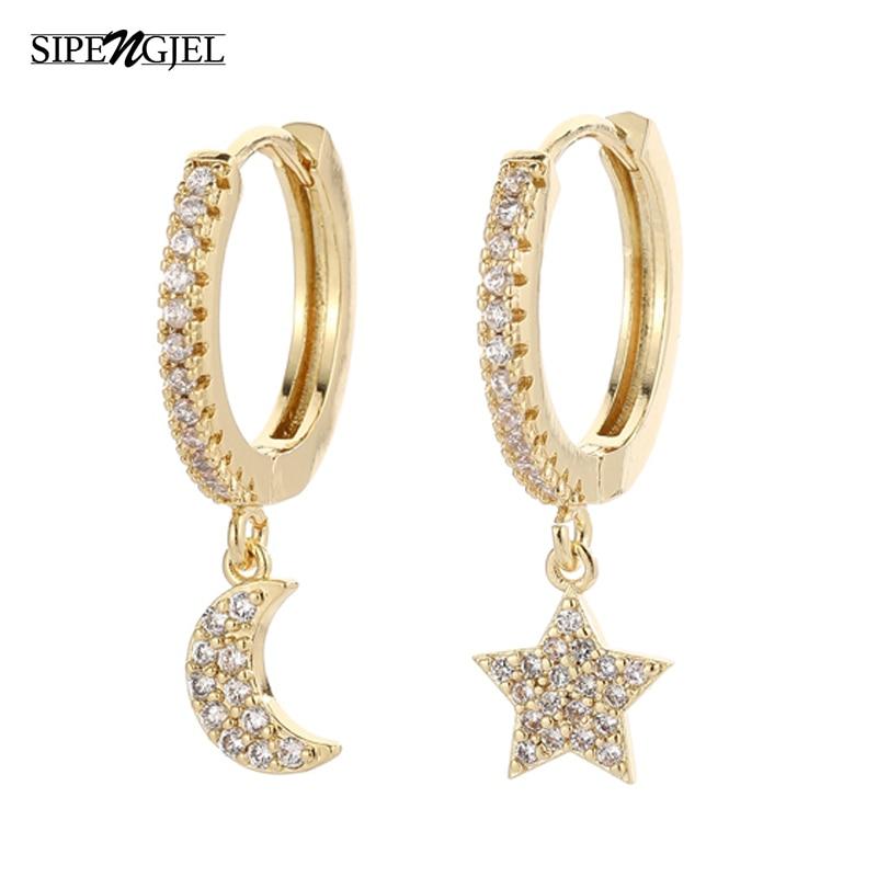 SIPENGJEL Fashion Star Moon Circle Hoop Earrings For Women Geometreic Dangle Drop Earrings Party Jewelry Gift 2021 серги женские