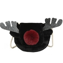 2019 New Christmas Deer Bag Women Gift Fur Reindeer Crossbody Bag Red Nose Elk Winter Plush Sweet Girls Sling Shoulder Bag SJ268