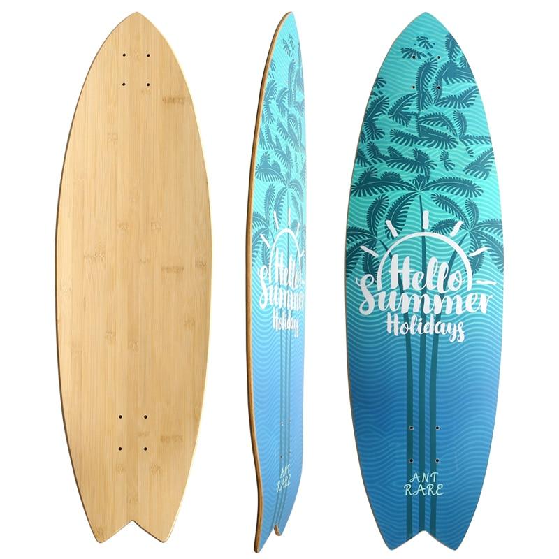 Land Carver Surf Skateboard Deck Only Carbonized Bamboo Fiber Glass New Concave Design