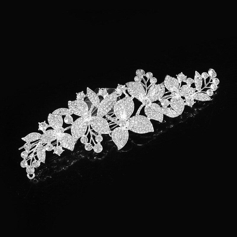 Pequeno crysatls folha de cabelo lado clipe casamento nupcial headpieces pente de cabelo para a noiva