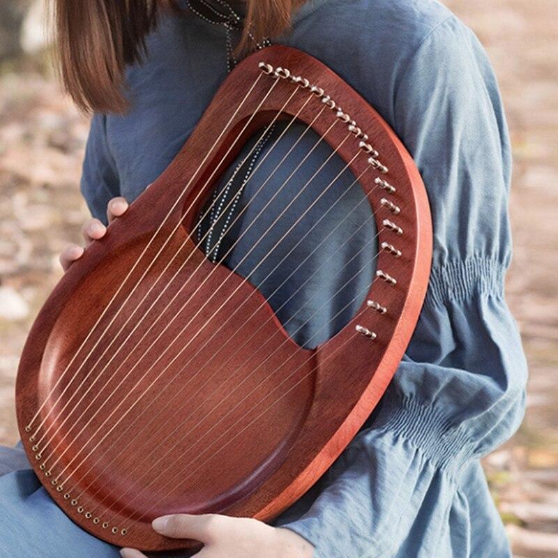 Lira harpa, 16 cordas harpa heptachord madeira maciça lira de mogno harpa com chave de ajuste para os amantes da música crianças adulto