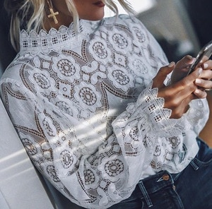 Women Lace Top Women Fashion Summer Lace Floral Tops Long Sleeve Lace T shirts Women Female Turtle Neck Casual Tops T-Shirt Tops