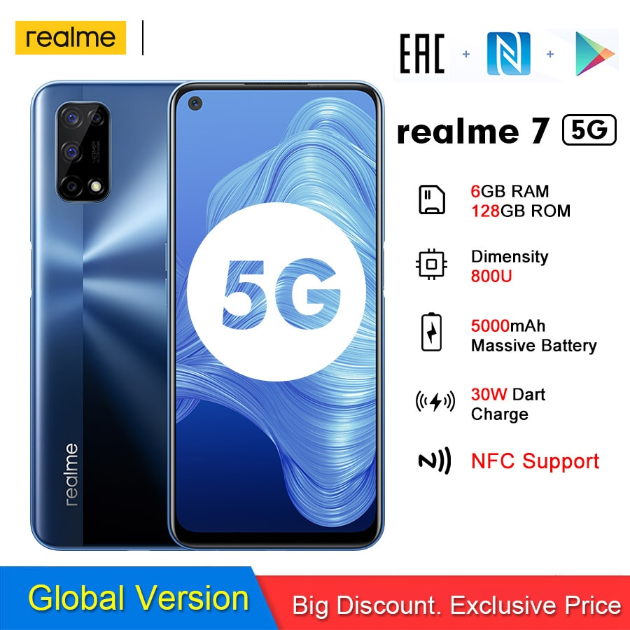 realme 7 5G Global Version Mobile Phone 6GB 128GB 120Hz Display 48MP Camera 5000mAh CellPhone 6.5 inch Helio G95 30W Fast Charge