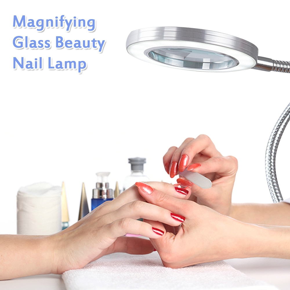 8X Magnifier Nail Beauty Light Tattoo Clip Light Makeup Equipment Tool USB Student Eye Care Reading