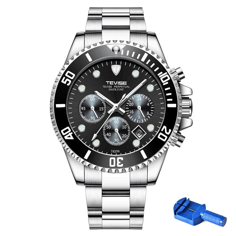 TEVISE-ساعة يد كوارتز للرجال ، ساعة يد رجالية ، مقاومة للماء ، مع أداة تثبيت ، تاريخ الأسبوع ، مضيئة
