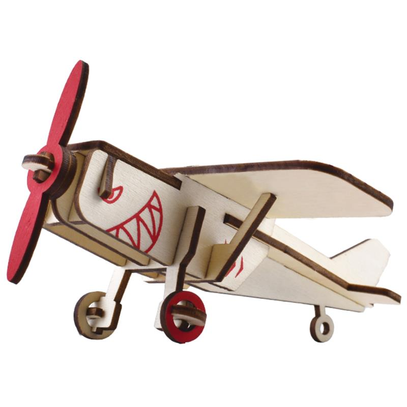 DIY 3D Wooden Puzzle Educational Toys for Children Aircraft Model Assembly Toy Gift for Boys Girls all metal alloy diy assembly aircraft model 1 48 f6f 5 hell cat fighter skeleton puzzle