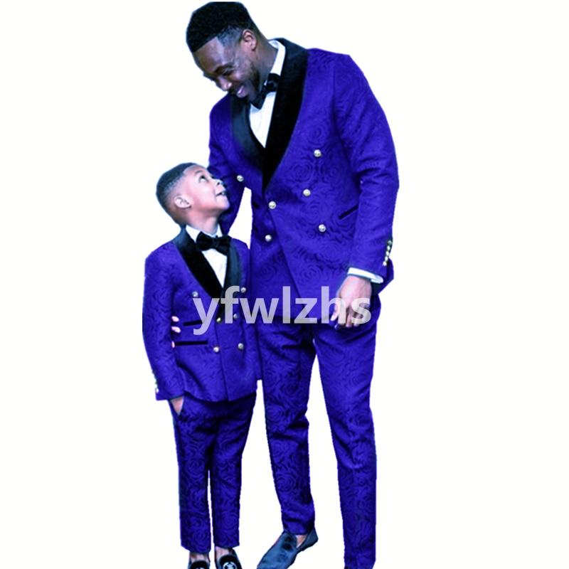 Handsome Embossing Groomsmen Double-Breasted Groom Tuxedos Wedding Dress Men Suits Blazer Prom Dinner (Jacket+Pants+Tie) K585