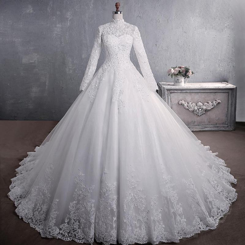 أنيقة الأميرة فستان الزفاف مسلم كم طويل الرقبة عالية الدانتيل يصل المشاهير الكرة ثوب الزفاف Vestido دي Noiva حجم كبير