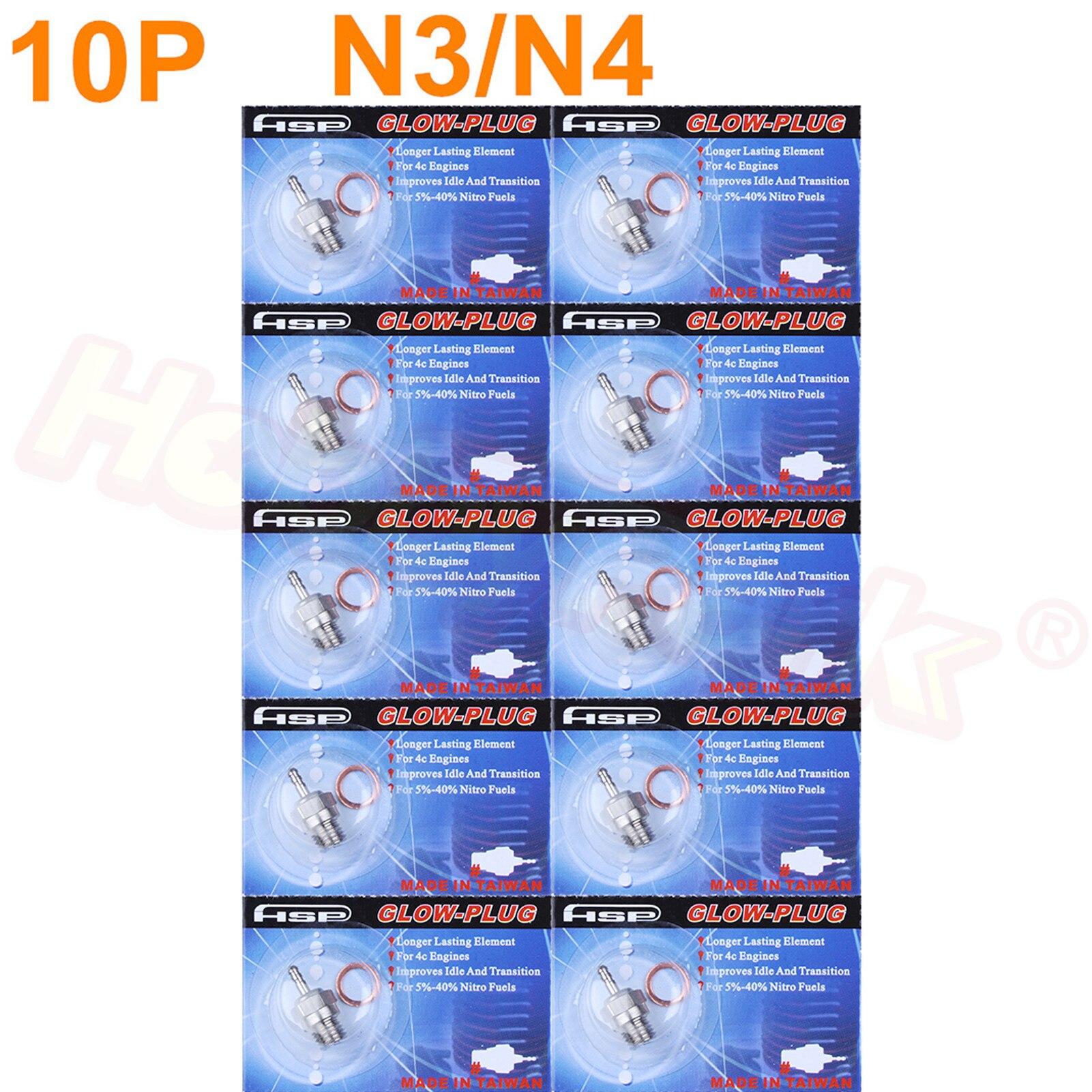 10 pçs quente/médio glow plug velas de ignição n3 3 # n4 #4 para nitro rc carros peças motor 1/8 1/10 caminhão traxxas hpi himoto hsp 70117