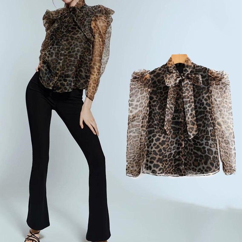 Za 2019 leopard tops bogen kragen mesh frauen tops und blusen sexy frauen hemd casual mode lange hülse hemd