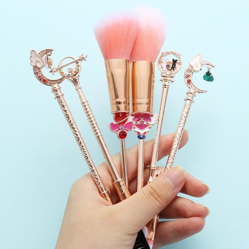 Dessin animé Anime marin lune cosmétique brosse Cosplay cannes accessoires carte Captor sakura rose doré maquillage pinceaux outils fille cadeau
