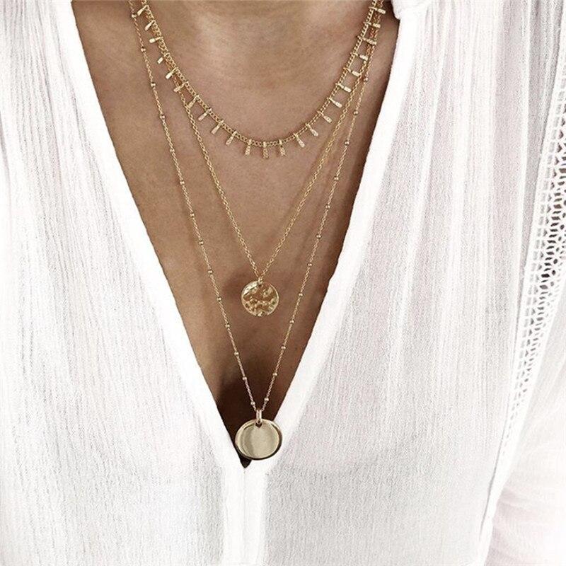 Tocona encantos Cadena de Color oro collar chockers redondo de moda colgante de la geometría de la joyería para las mujeres accesorios venta al por mayor 8279