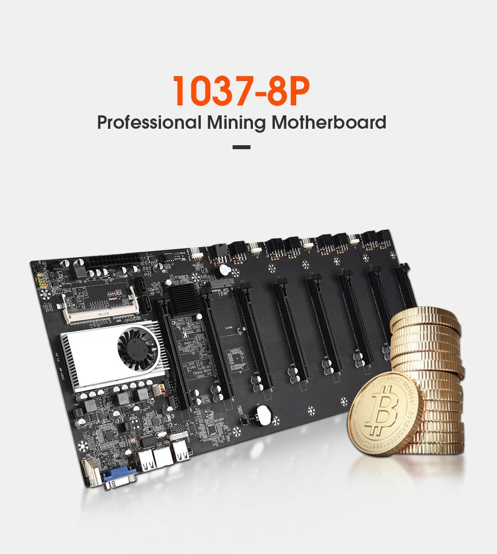 Riserless mining motherboard 8 GPU Bitcoin Crypto Etherum Mining Support 1066/1333/1600MHz