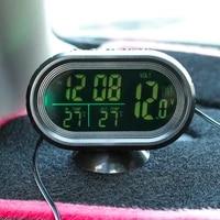 dc12 24v car thermometer digital clock automobile interior led lighted display dual temperature gauge voltmeter voltage tester