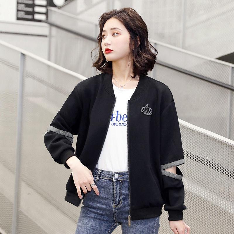 Women Casual Black Jacket Autumn New Fashion Korean Style Loose Fitting Jacket Baseball Uniform Holl
