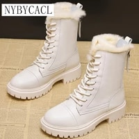 genuine leather mid calf boots for women winter snow boots high heels warm ladies winter shoes women snow boot fashion shoes new