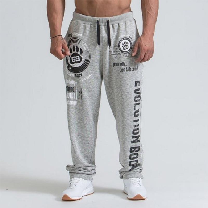 Мужские тренировочные брюки, мужские хлопковые повседневные спортивные штаны для бега, штаны, индивидуальные Свободные Штаны для фитнеса с...