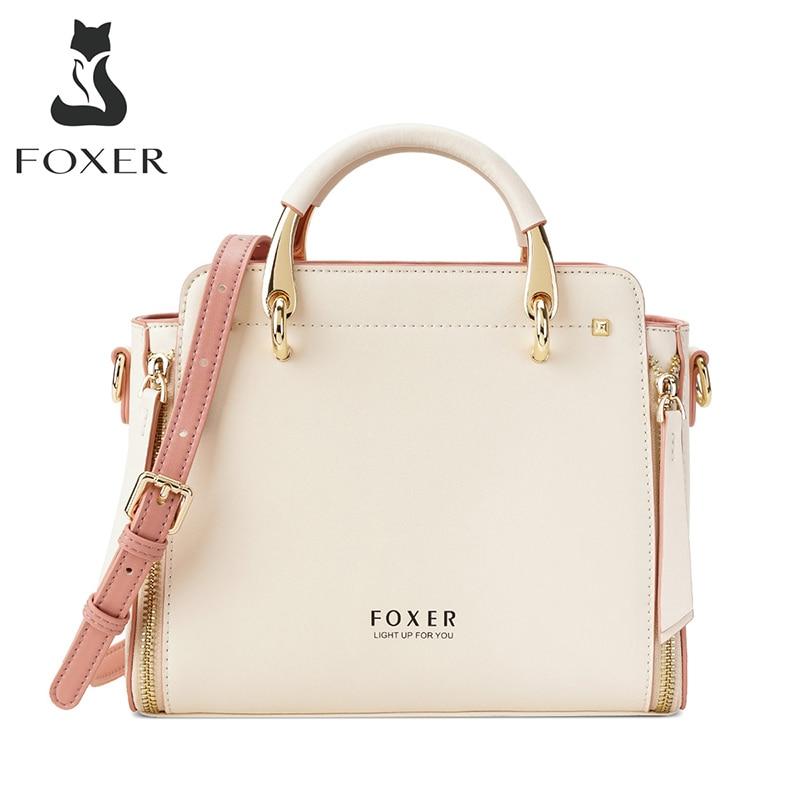 FOXER Handbag Women Purse Female Split Leather Crossbody Shoulder Bags Large Capacity Handbags Stylish Messenger Bags Chic Totes
