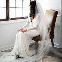 custom made white long sleeve wedding dresses mermaid bridal gowns 2020 big train lace tulle pearls sexy vintage robe de mariee