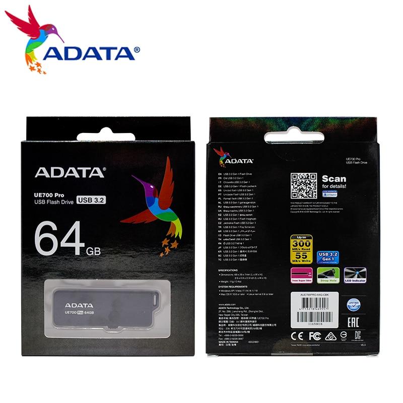 ADATA UE700 Pro USB Flash Drive 64GB 128GB 256GB 512GB USB 3.2 Gen 1 High Speed Metal Memory Stick U Disk Portable Storage Disk