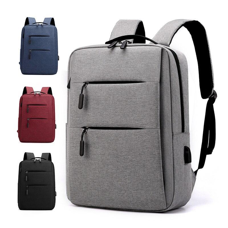 Рюкзак мужской из ткани «Оксфорд», деловой Повседневный стильный вместительный многофункциональный портфель для ноутбука с USB-зарядкой дл...