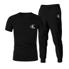 2021 new Ck men's summer sports casual suit T-shirt + pants track and field jogging shirt