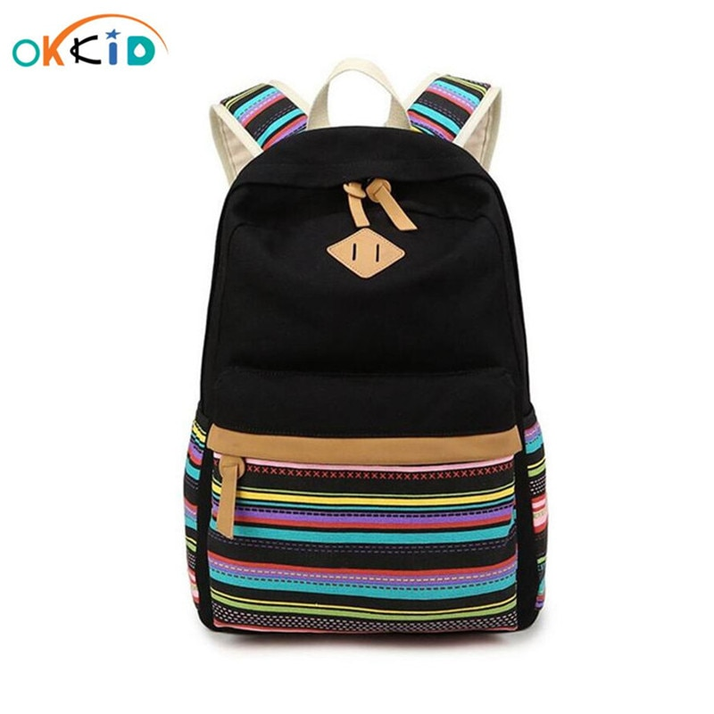 Mochila escolar para Adolescente, mochila de lona con rayas étnicas, mochila vintage para estudiante, mochila para libros, mochilas de escuela para niñas, mochila