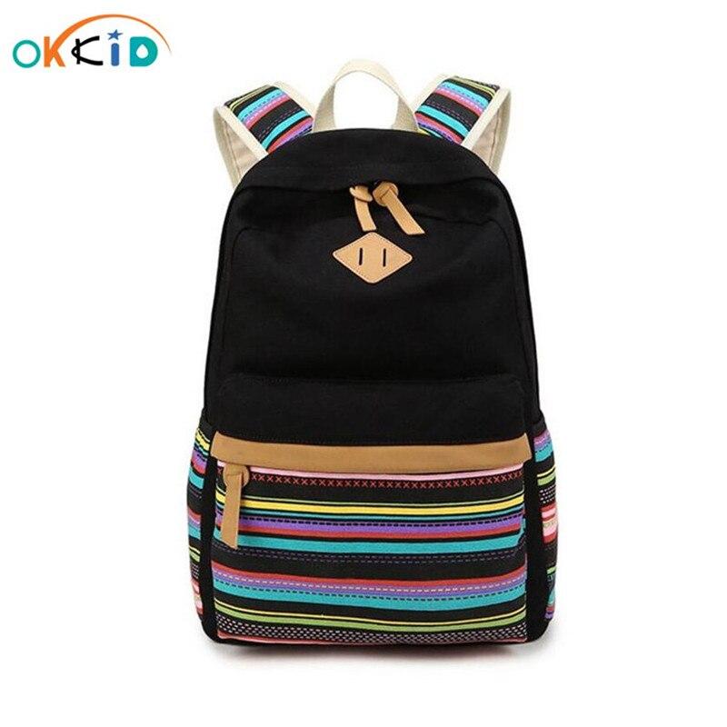 Mochila escolar para adolescente menina étnica listra lona mochila estudante do vintage saco de livro sacos de escola para meninas backbag
