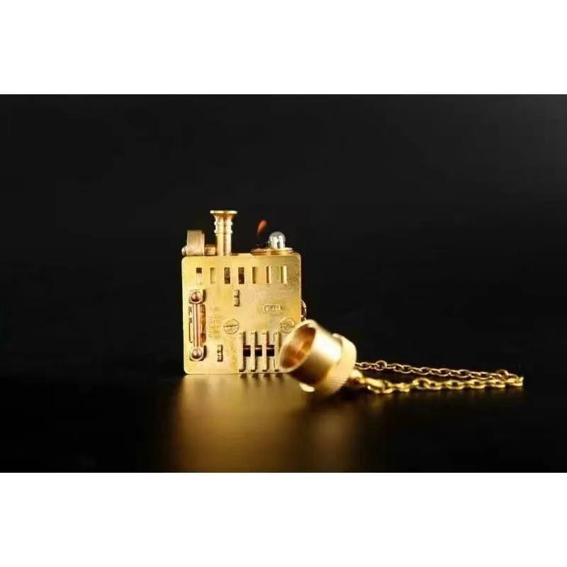 Steampunk locomotive style desktop Brass kerosene gasoline oil lighter Multi-purpose pipe Exquisite decoration Collection gifts enlarge