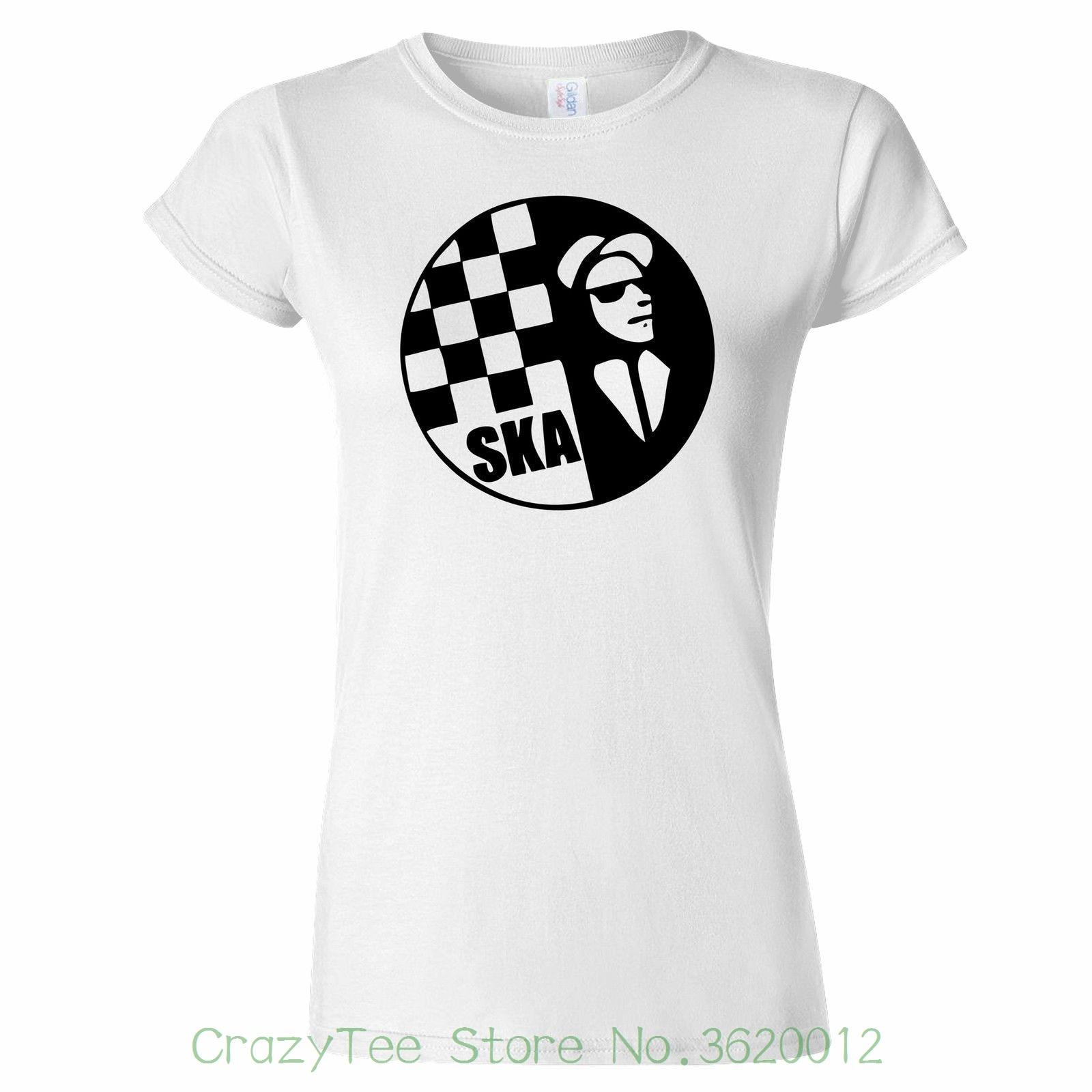 Camiseta de mujer Ska Circle con Cheques, camiseta para mujer, 2 tonos Ska Madness The Beat Rude Boy, camiseta para mujer, 2018 algodón de verano