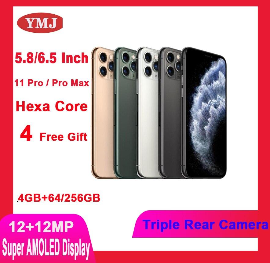 Apple iPhone 11 Pro/Pro Max разблокированный Оригинальный сотовый телефон 5,8/6,5 дюймов AMOLED дисплей 12 + 12 Мп Тройная задняя камера б/у смартфон