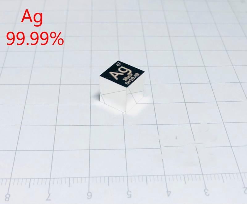 1pcs Silver Ag Cubic Periodic Table Cube 99.9% Pure Silver Cubic Metal Gift Rare Metal Silver Element Block Sample10mm 10g 99 9% vanadium metal in glas ampoule under argon pure element 23 sample