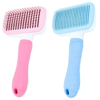 1 pcs self cleaning slicker brush for dog and cat removes undercoat tangled hair massages particle pet comb improves circulation
