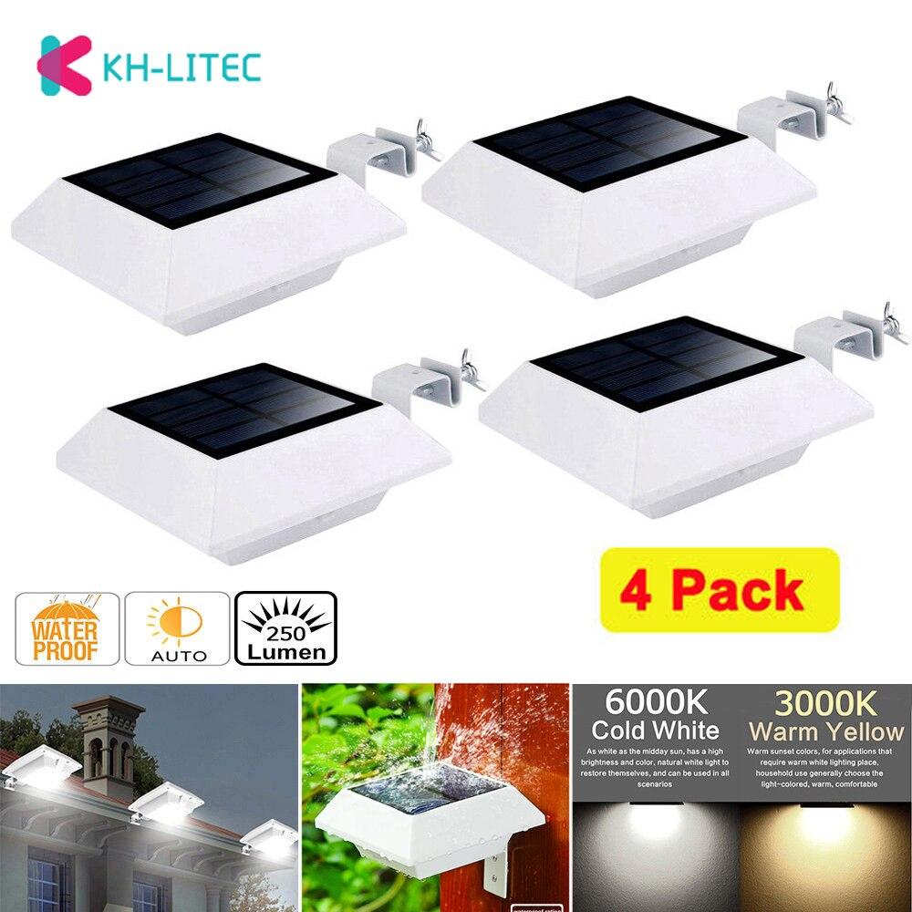 KHLITEC 4 قطعة الطاقة الشمسية مزراب أضواء 6 مصباح ليد الاستشعار الجدار أضواء في الهواء الطلق LED الشمسية مصباح الشارع سياج مصابيح حديقة