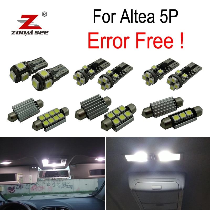 11 Uds x Canbus Error Free LED Interior de cúpula luces de lectura bombilla kit para Seat Altea 5P 5P1 5P5 5P8 XL (2004-2015)