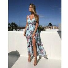1PC Elegant Beach Dresses Womens Boho Floral Long Maxi Dress Summer Beach Evening Party Sleeveless Veck Sky Blue Sundress