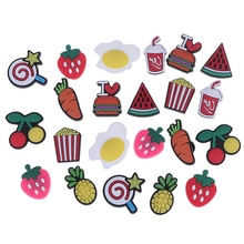 10pcs/Set Croc Ice Cream Shoes Buckle PVC Novelty Bowties Food Shoes Decoration Fit For Garden Shoes