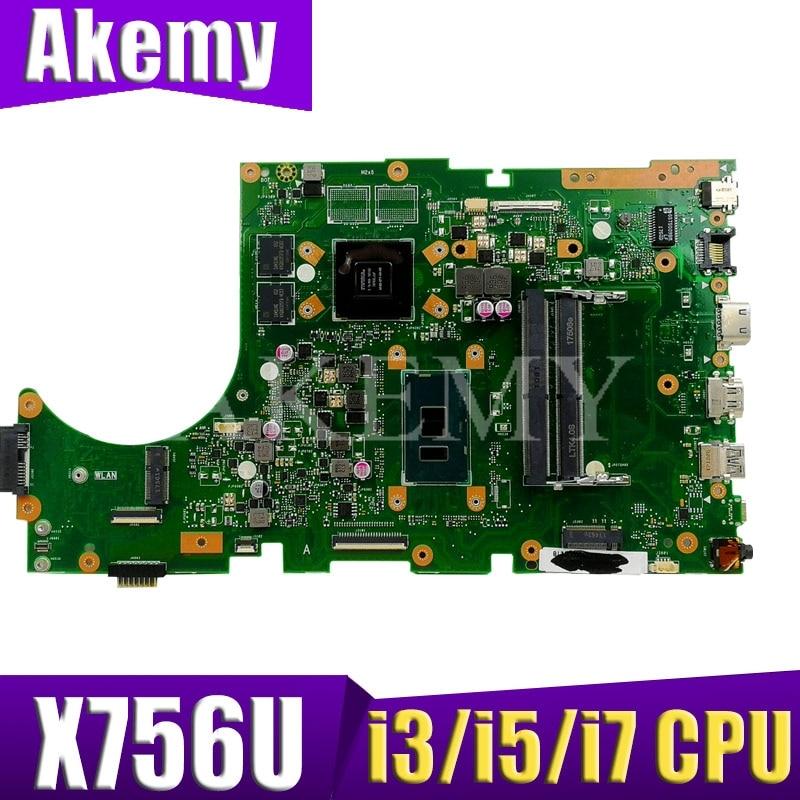 لASUS X756UQK X756UVK X756UXM X756UWM X756UW X756UX Loptop اللوحة ميان مجلس Mainboard W / كور i3 / i5 و / I7 CPU