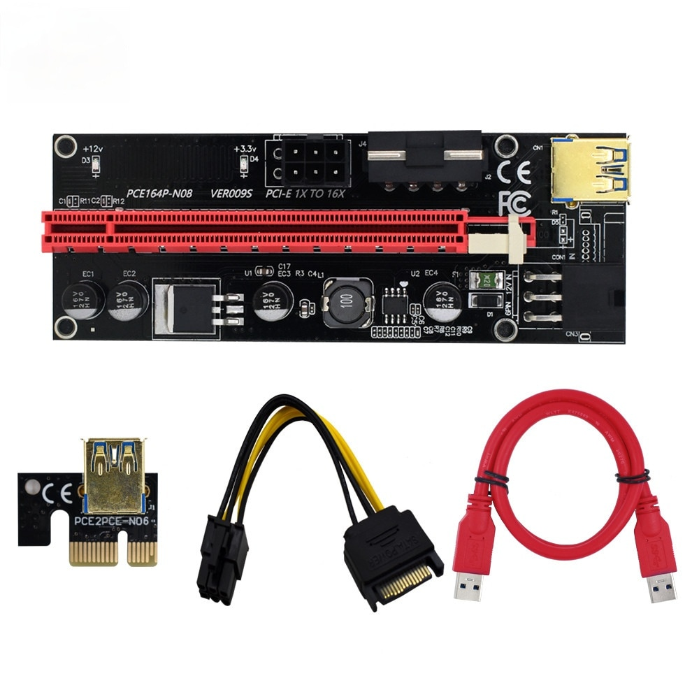 سريع الشحن COVYIV 009s PCI E موسع الناهض بطاقة PCI-E/PCIE USB 3.0 إلى 6pin كابل محول التعدين الناهض لبطاقة الفيديو