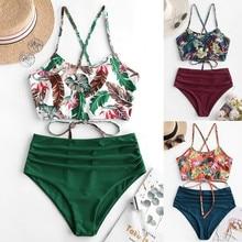 Frauen Sommer Bikini Sets Badeanzug Druck Gepolsterte Bikinis Halter Bademode Bathsuit hohe Taille Bademode #35