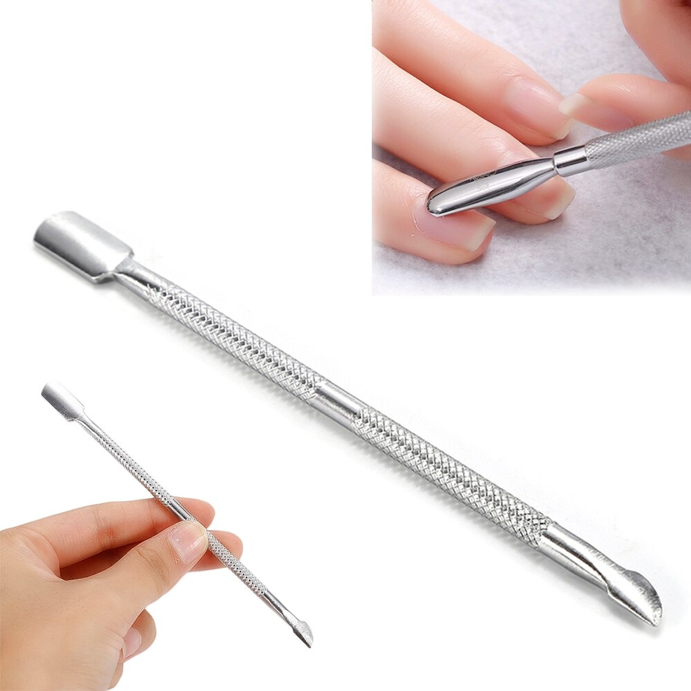 Fashion Design Double Head Stainless Steel Cuticle Nail Pusher Manicure Tool Dead Skin Push for Nail