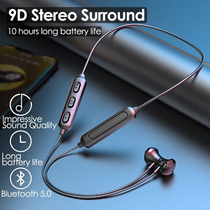Fone de Ouvido Bluetooth sem Fio Fone de Ouvido para Correr Pescoço-estilo Magnético Esportes Pendurado Pescoço Bluetooth 5.0 In-ear para Correr