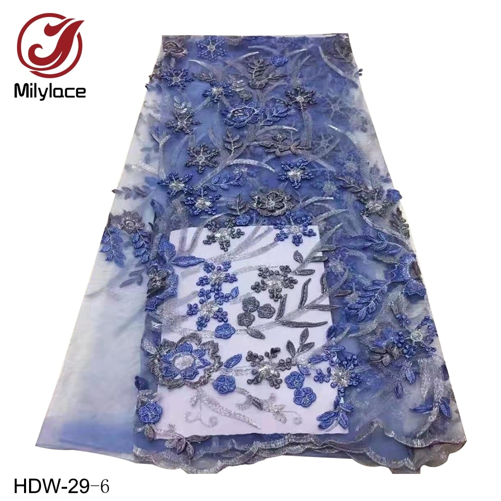 African Lace Fabric 5 Yards High Quality Tulle French 3d Flower Embroidered Mesh Lace Fabric for African Wedding HDW-29