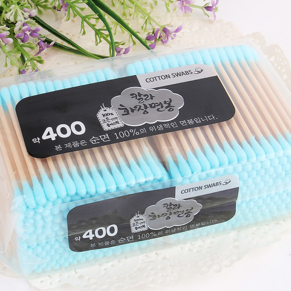400pcs Double Head Cosmetic Cotton Swab Double Head Ended Clean Cotton Buds Nose Ears Cleaning Healt