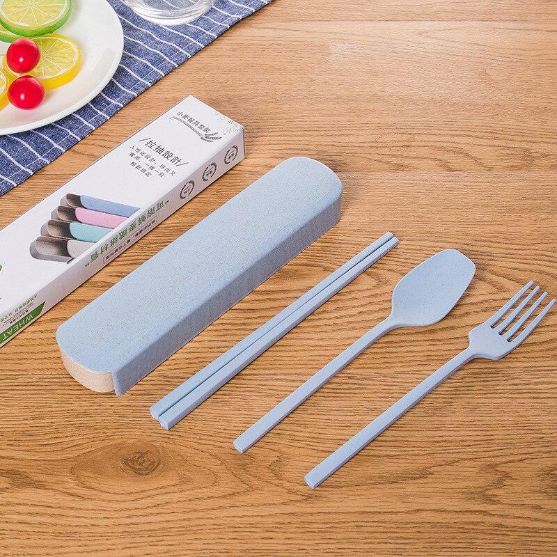 Простой Стиль пшеничной соломы детские столовые приборы, 3 предмета в комплекте, столовая ложка, вилка, палочки дозирующая детская ложка для...