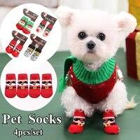 cute pet santa socks christmas style pet socks elastic dog socks warm socks pet supplies dog booties accessories