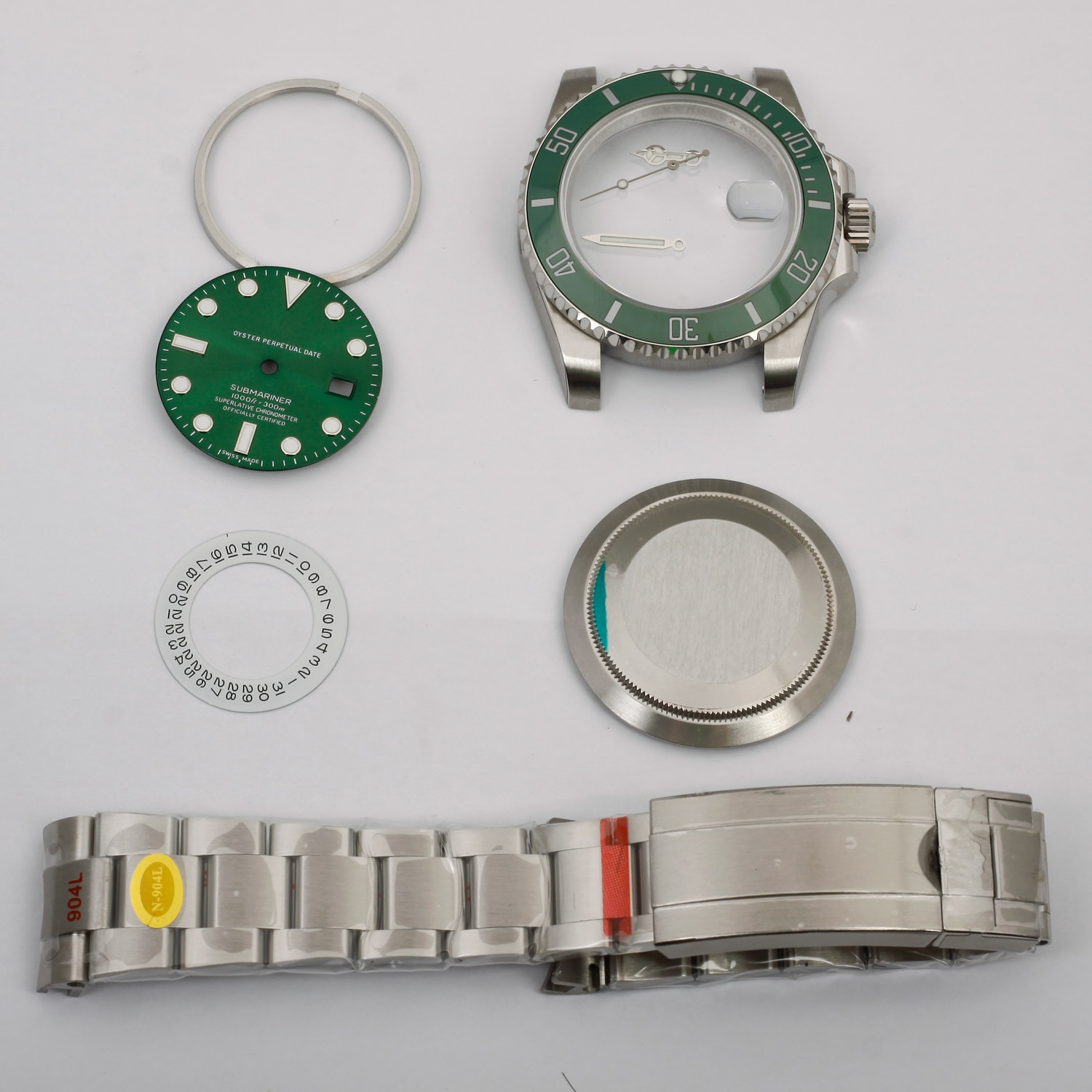 watch parts fit ETA 2836 2824 movement watch case kit N v10 904l steel green submariner style 40mm high quality parts